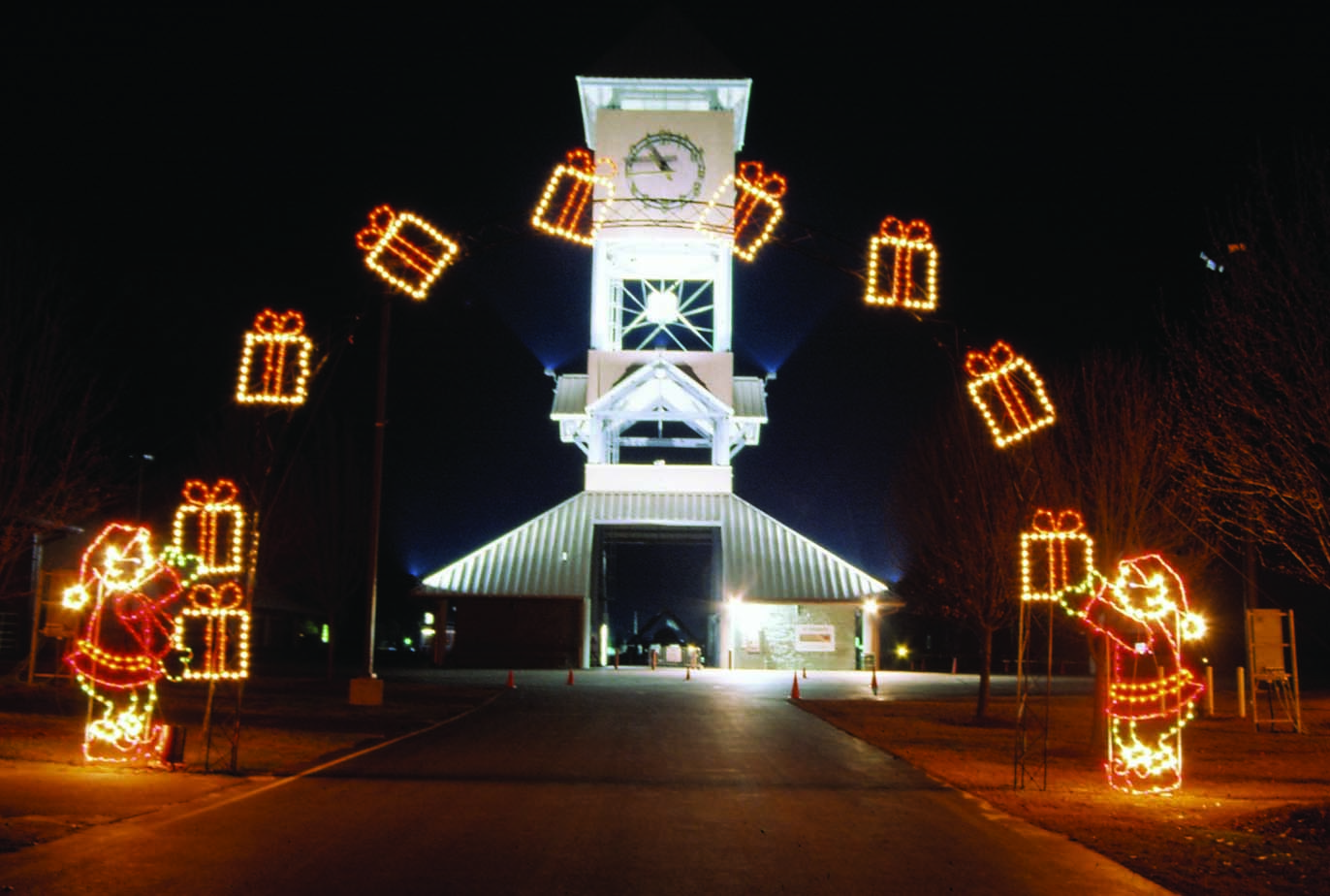 Commercial lighted arches for drive thru parks and city for Animated christmas decorations